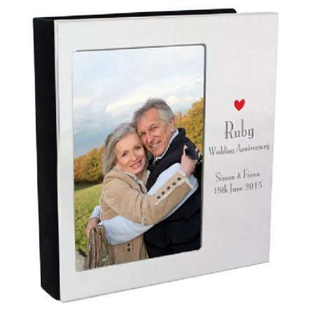 Personalised Ruby 40th Wedding Anniversary Photo Frame Album